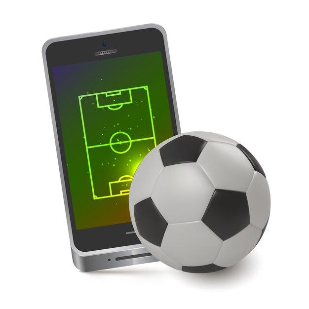 Mobiele voetbalveld Premium Vector