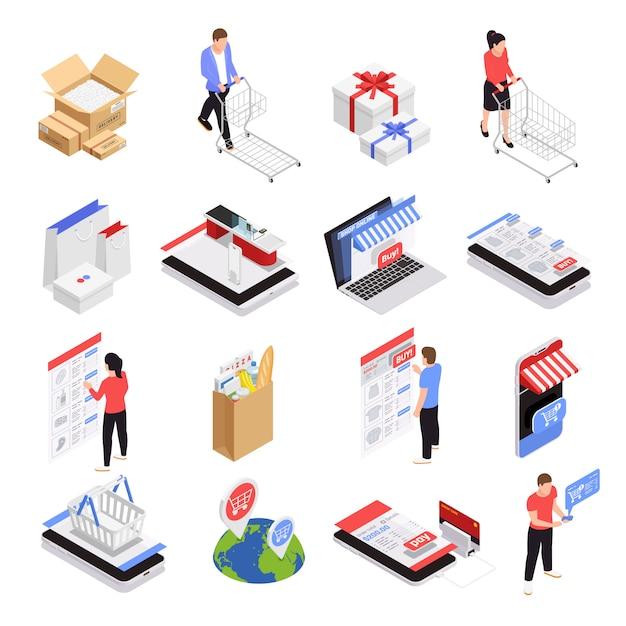 Mobiele winkelen pictogrammen instellen met isometrische e-commerce symbolen geïsoleerd Gratis Vector
