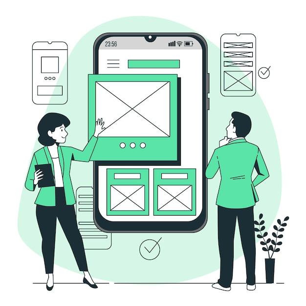 Mobiele wireframe concept illustratie Gratis Vector