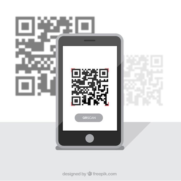 Mobile achtergrond met qr-code Gratis Vector
