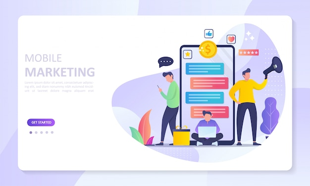Mobile marketing banner bestemmingspagina Premium Vector