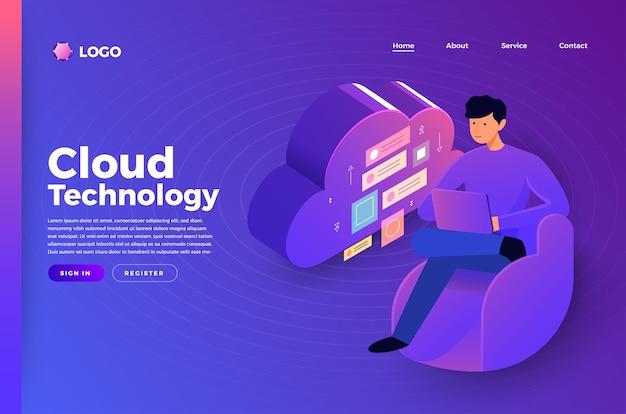 Mock-up website bestemmingspagina concept mensen die technologie verbinden. illustreren. Premium Vector