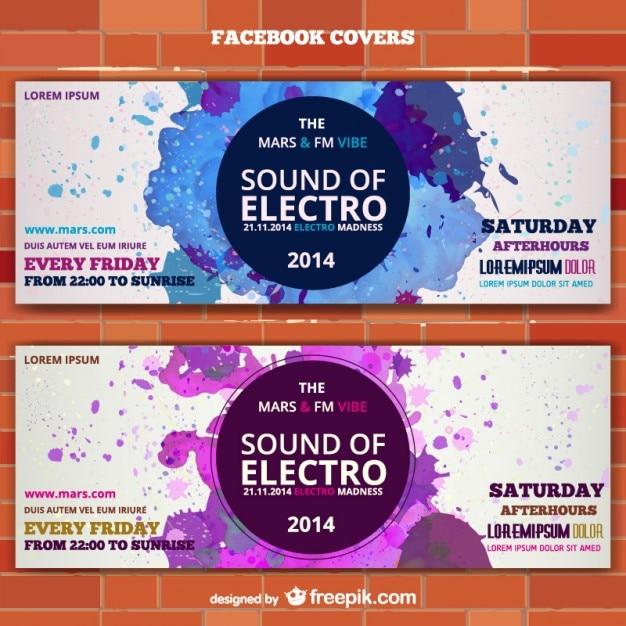 Mockup electro muziek banner ticket uitnodiging Gratis Vector