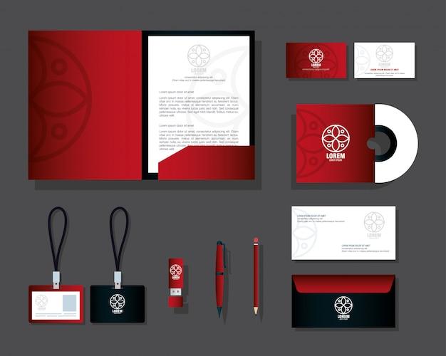 Mockup kantoorbenodigdheden, kleur rood met wit bord, merk mockup huisstijl Premium Vector