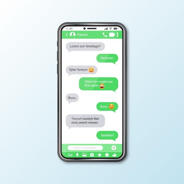 Mockup met smartphone met messenger-venster voor sociale media Premium Vector