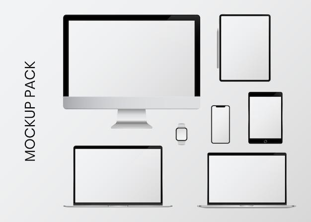 Mockup-set voor digitaal apparaat Gratis Vector