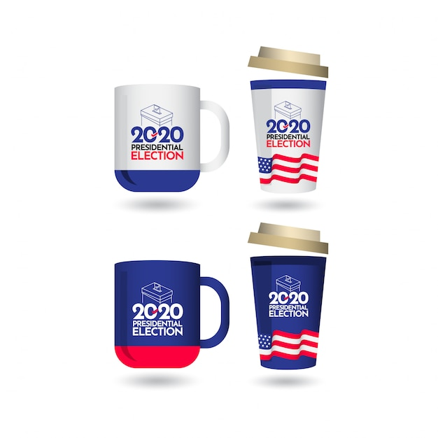 Mockup stemming presidentsverkiezingen 2020 verenigde staten vector sjabloonontwerp illustratie Premium Vector