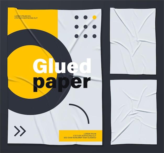 Mockup van wit gelijmde gerimpelde poster Premium Vector