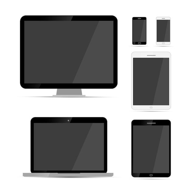 Mockups voor beeldschermen, laptops, tablets en telefoons Premium Vector