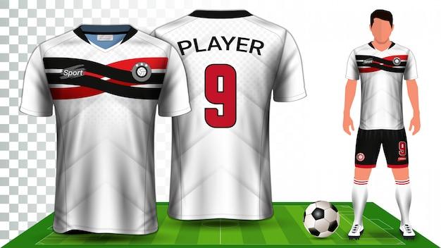 Mockupsjabloon voor voetbalkit uniforme presentatie Premium Vector