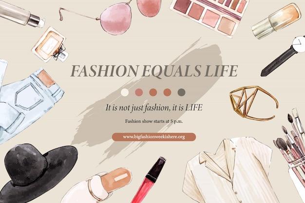 Mode-achtergrond met jeans, cosmetica, schoenen Gratis Vector