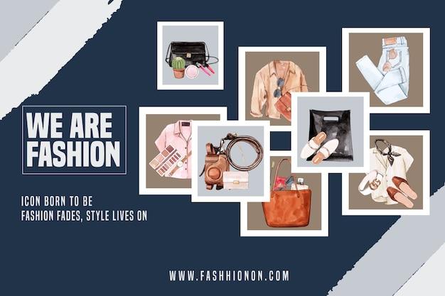 Mode-achtergrond met outfit, accessoires Gratis Vector