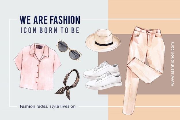 Mode-achtergrond met shirt, zonnebril, broek, schoenen Gratis Vector