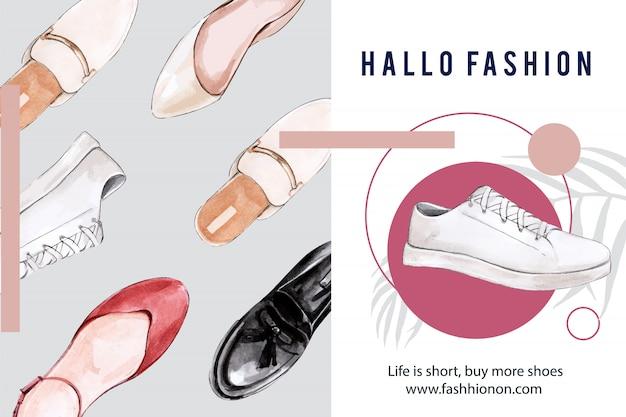 Mode-achtergrond met verschillende schoenen Gratis Vector