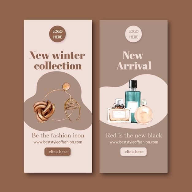 Mode banner met accessoires, parfum Gratis Vector