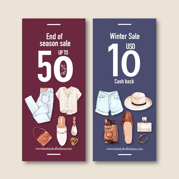 Mode banner met jeans, shirt, accessoires Gratis Vector