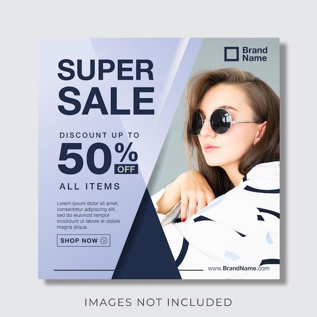 Mode banner voor instagram en social media postsjabloon Premium Vector