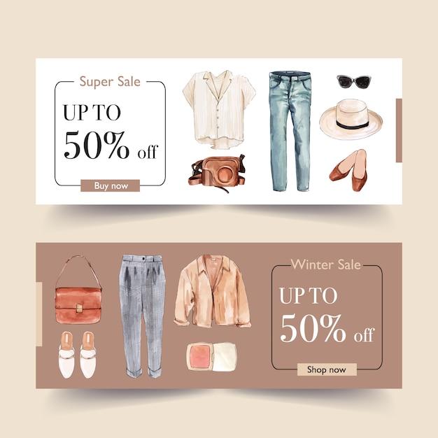 Mode bannerontwerp met shirt, broek, schoenen Gratis Vector