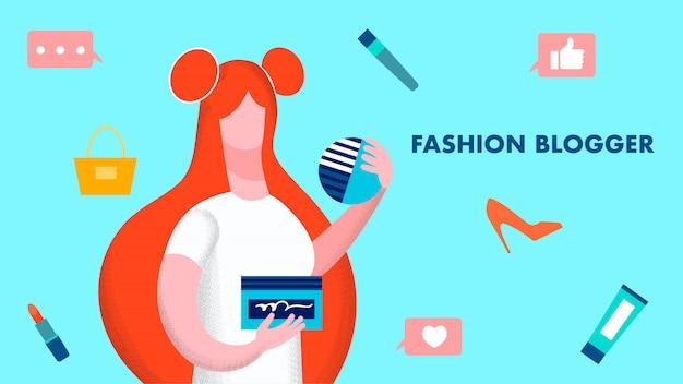 Mode blogger model illustratie Premium Vector