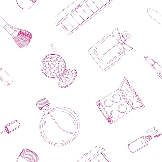 Mode cosmetica naadloze patroon met make-up artiest objecten. Premium Vector
