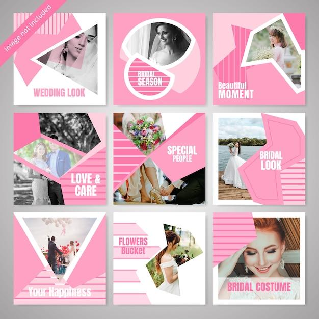 Mode die sociale media postmalplaatje wieden Premium Vector