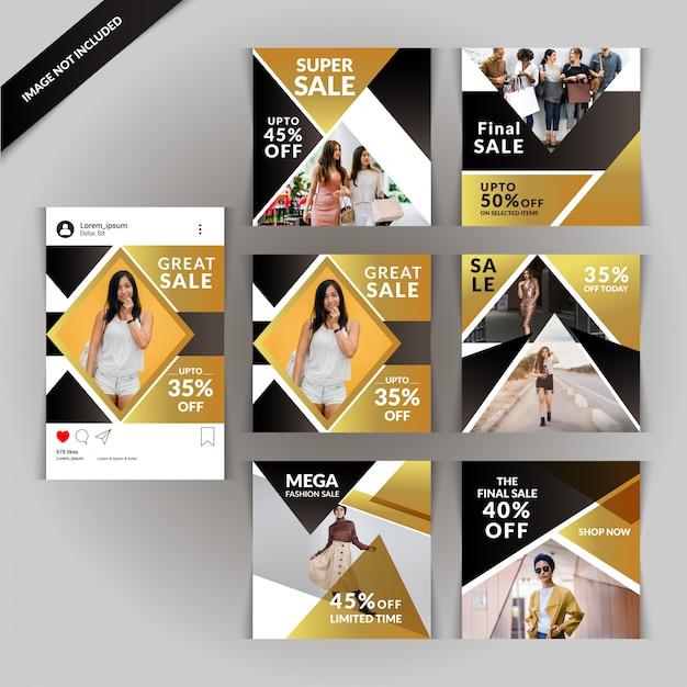 Mode en verkoop sociale media post sjabloon Premium Vector