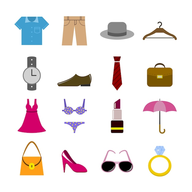 Mode-iconen collectie Gratis Vector