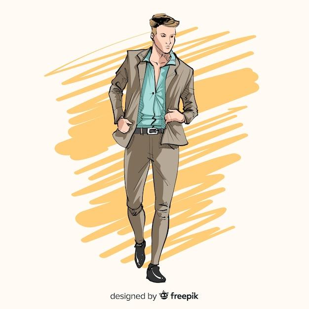 Mode illustratie met mannelijk model Gratis Vector