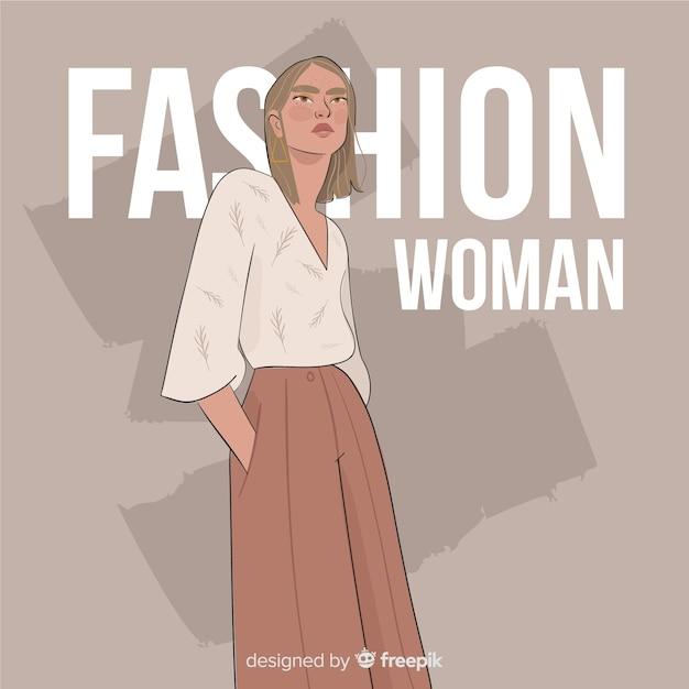 Mode illustratie met vrouwelijk model Gratis Vector