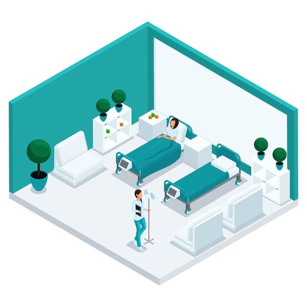 Mode isometrische mensen, een ziekenhuiskamer, de kamer is een vooraanzicht, personeel, ziekenhuispersoneel, een verpleegster, een patiënt in een ziekenhuisbed geïsoleerd Premium Vector
