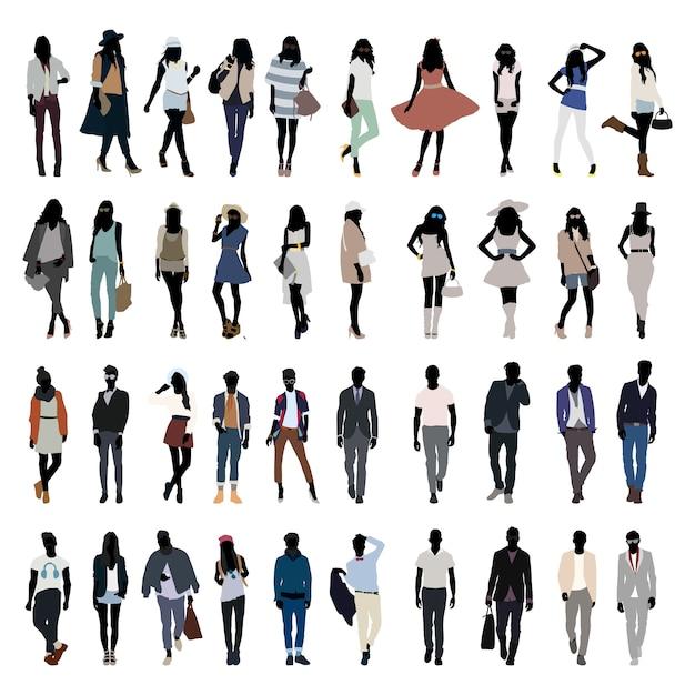 new style 01dea 627cd Mode jonge mensen silhouet vector | Vector | Premium Download