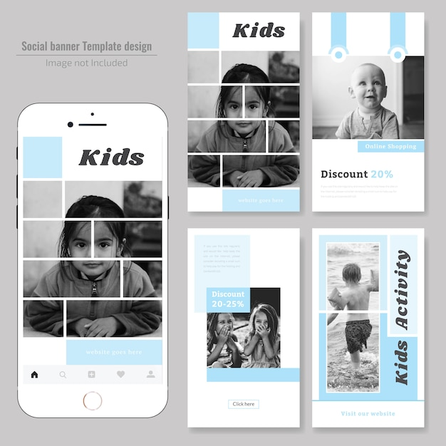 Mode kids social media post-sjabloon Premium Vector