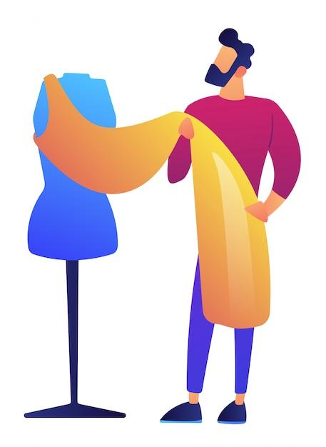 Mode kleding ontwerper werkt aan jurk project vectorillustratie. Premium Vector