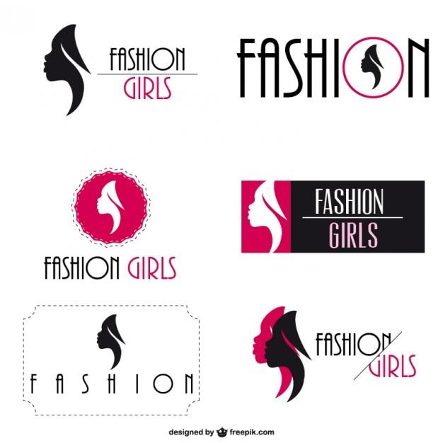 Mode logo visuele identiteit set Gratis Vector