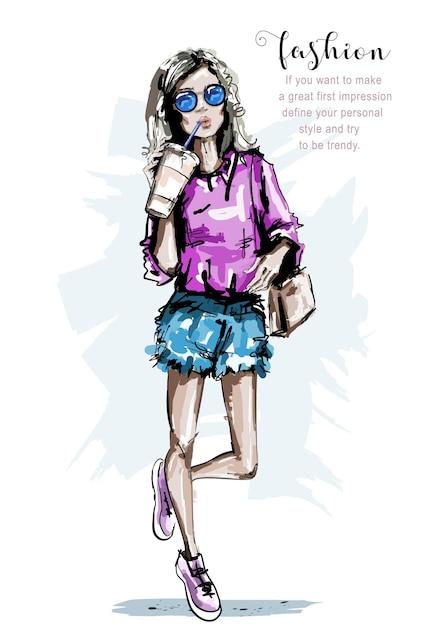 Mode meisje met papieren koffiekopje. Premium Vector