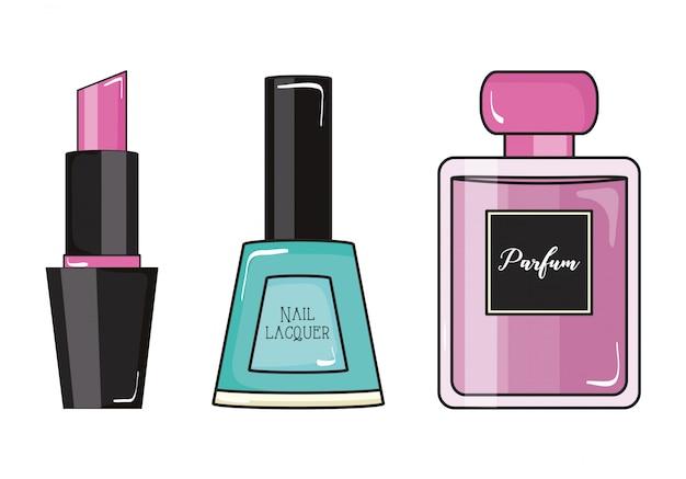 Mode meisje nagels polish en parfum met lippenstift pop-art stijl Premium Vector