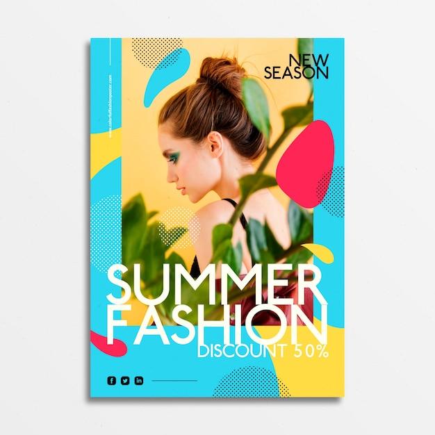 Mode-poster met jonge meisjesfoto Gratis Vector