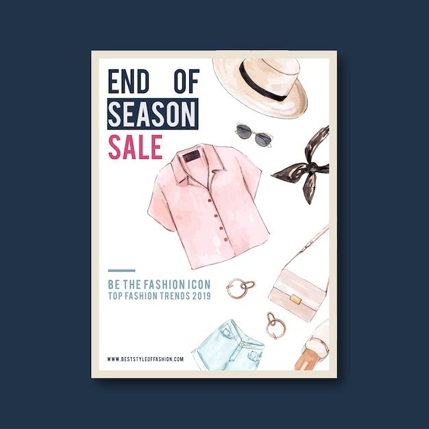 Mode-poster met shirt, tas, denim shorts, schoenen Gratis Vector