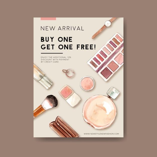 Mode posterontwerp met cosmetica, accessoires aquarel illustratie. Gratis Vector
