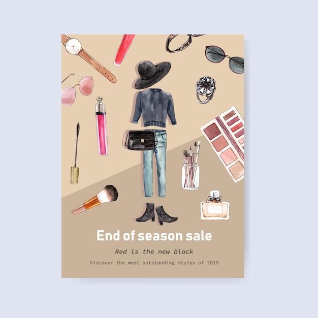 Mode posterontwerp met outfit, cosmetica aquarel illustratie. Gratis Vector