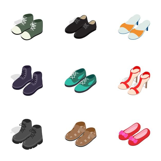 Mode schoeisel pictogrammen, isometrische 3d-stijl Premium Vector