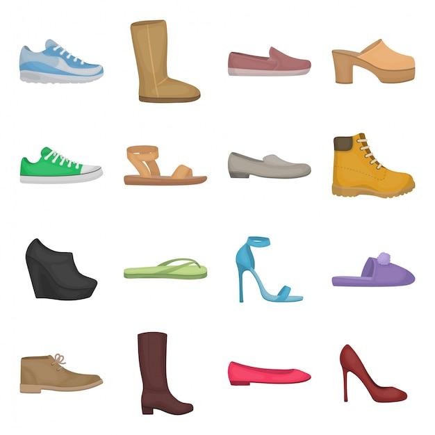 Mode schoen cartoon ingesteld pictogram Premium Vector