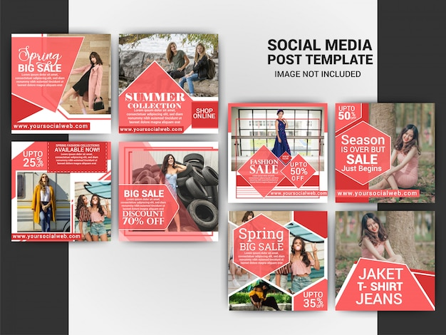 Mode social media bericht sjabloonontwerp Premium Vector