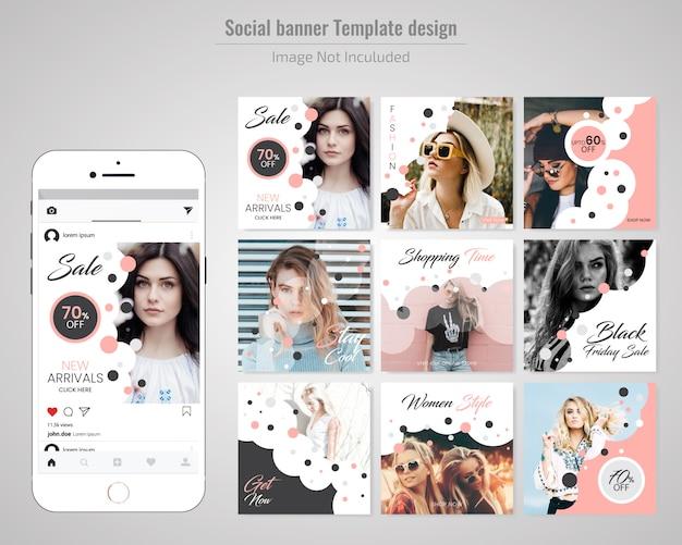 Mode sociale media post sjabloon Premium Vector