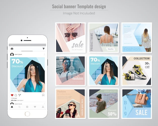Mode sociale media post sjabloon Premium Vector