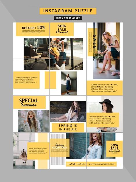 Mode sociale media puzzel sjabloon Premium Vector