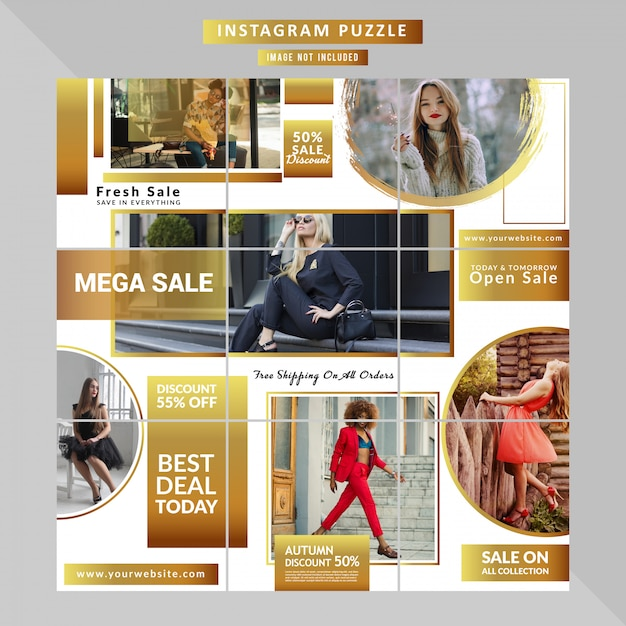 Mode sociale media puzzel sjabloon Premium Vector