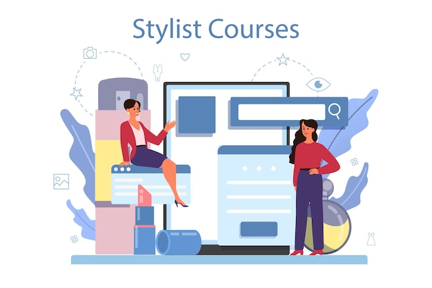 Mode stylist online service of platform. moderne, creatieve baan. stylist cursussen. Premium Vector