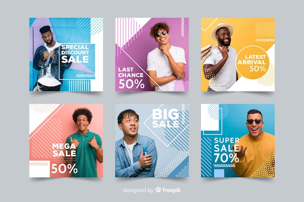 Mode verkoop banner collectie met foto Gratis Vector