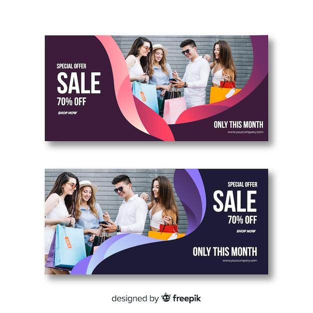Mode verkoop banner collectie Gratis Vector